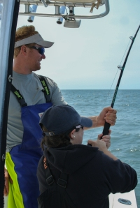 Capt. Cullen helping the therapist with a big one