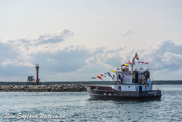 """Mass Maritime's """"Ranger"""", our pace boat at the east end jetties"""