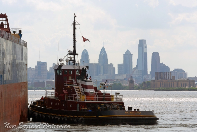 The Alex getting her line back with the Philadelphia skyline in the background