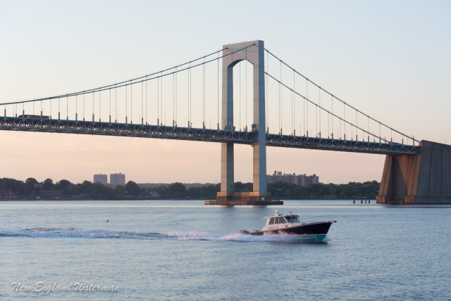 The Throggs Neck Bridge serving as a backdrop for a very pretty Grand Banks Exrpess
