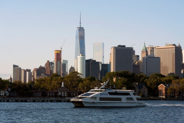 The Freedom Tower standing tall over Governors Island and the Battery