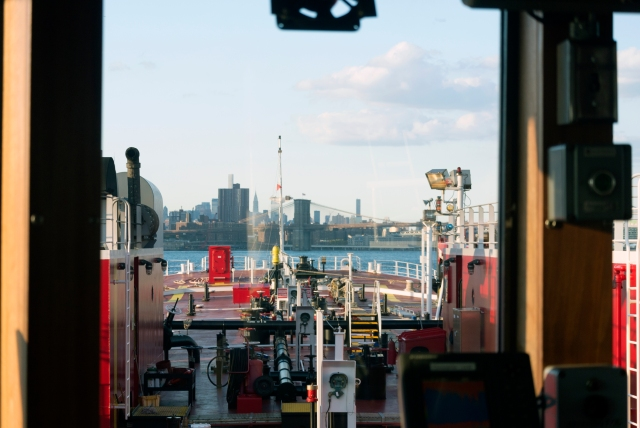 The view from our lower wheelhouse eastbound in the buttermilk for the gate.