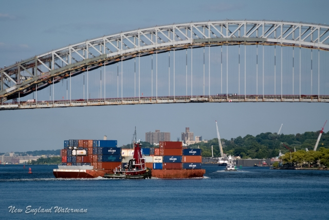 Joan Turecamo with a loaded box barge eastbound at Bergen Point
